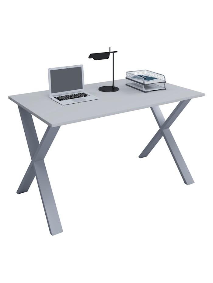 VCM Büromöbel Schreibtisch Lona X Alu Silber, B. 80 x T. 50 cm: Grau