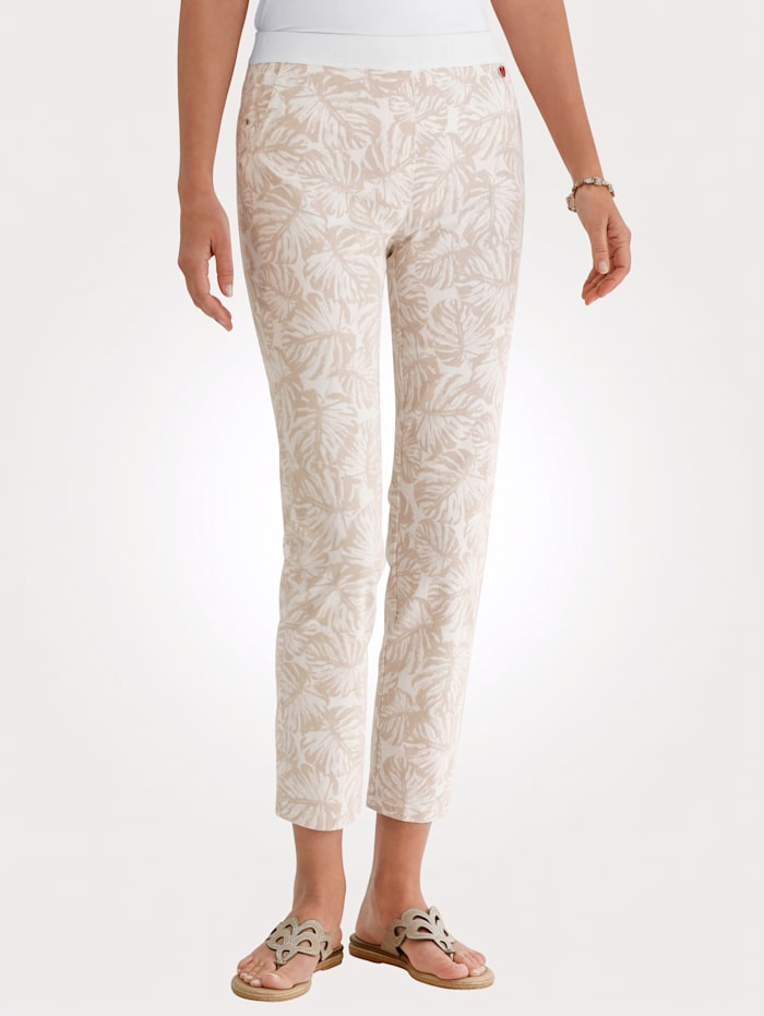 Relaxed by Toni Trousers with a floral print, Beige/Ecru