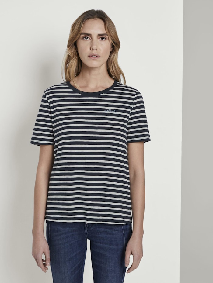 Tom Tailor T-Shirt mit Print, navy offwhite stripe