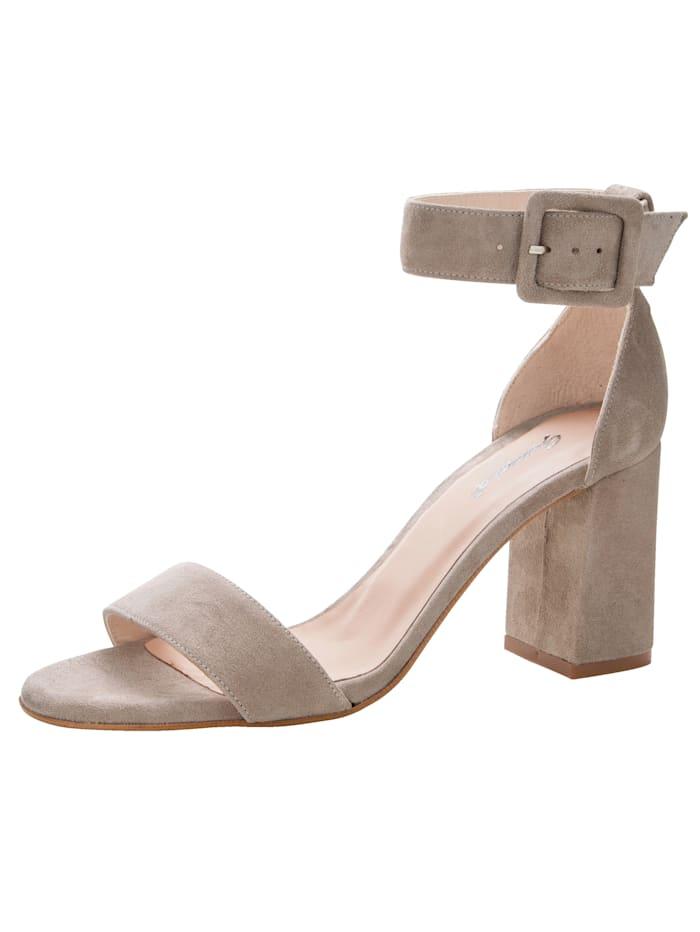 Gennia Sandale aus hochwertigem Ziegenveloursleder, Sand