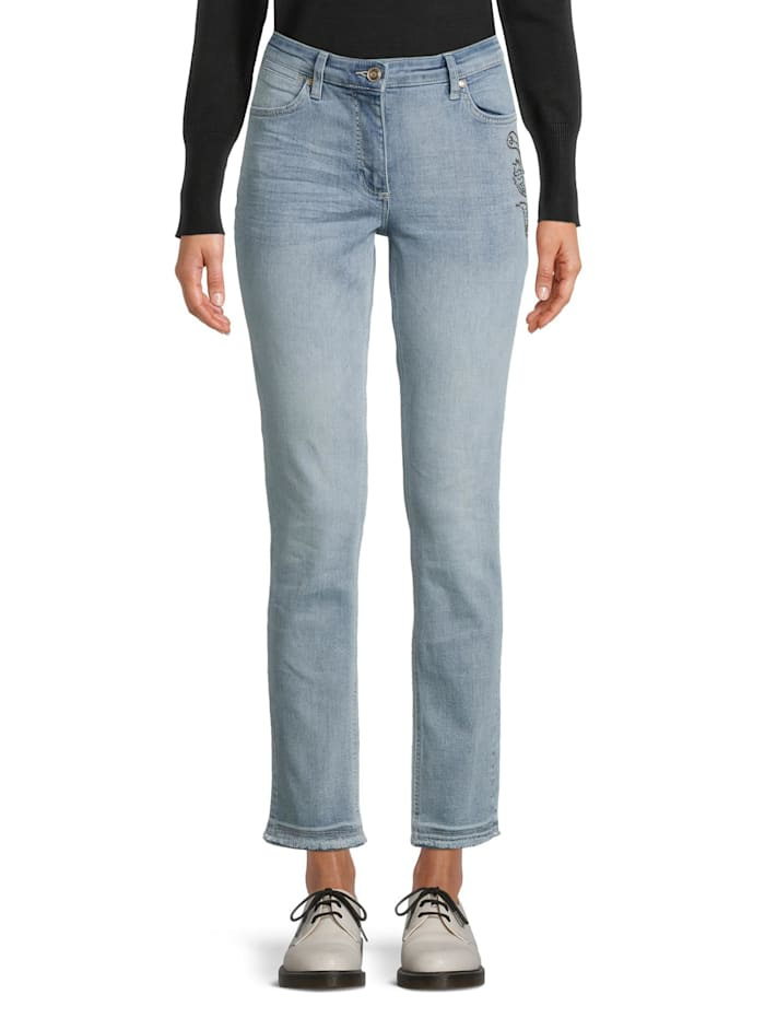 Slim Fit-Jeans mit Waschung Strass
