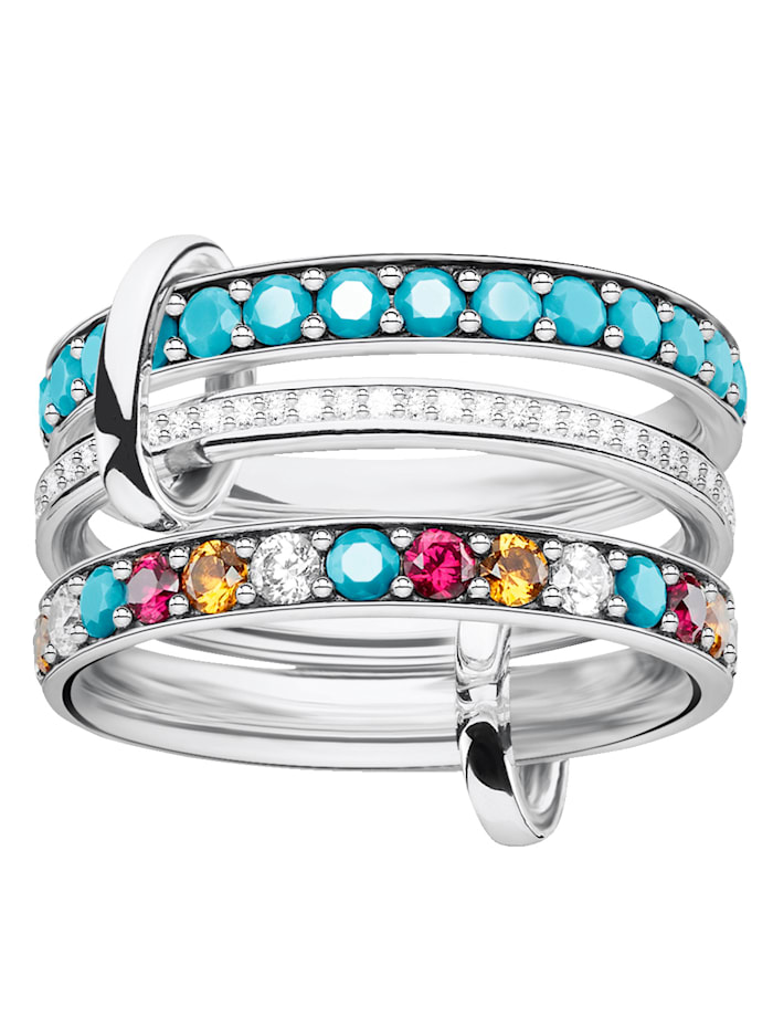 Thomas Sabo Triple Ring in Silber 925 TRIPLE RING TR2196-342-17, Multicolor