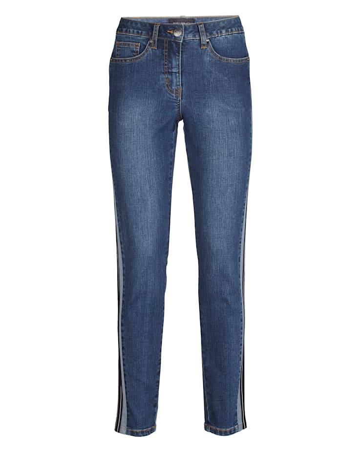 AMY VERMONT Jeans mit seitlich aufgesetztem Zierstreifen, Dark blue