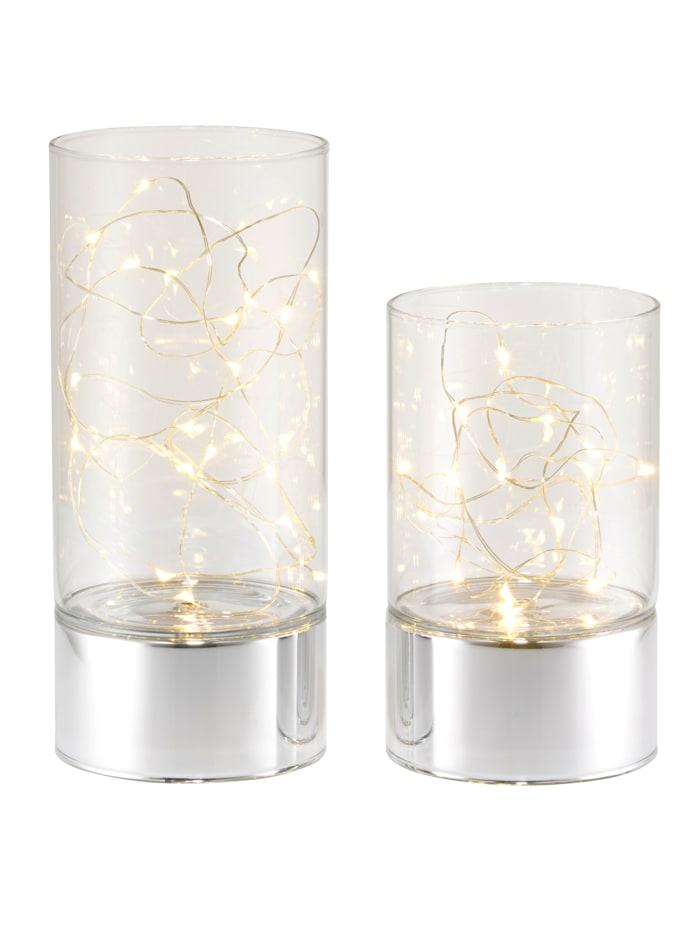 Creativ Light Set med 2 LED-lyktor, Silverfärgad