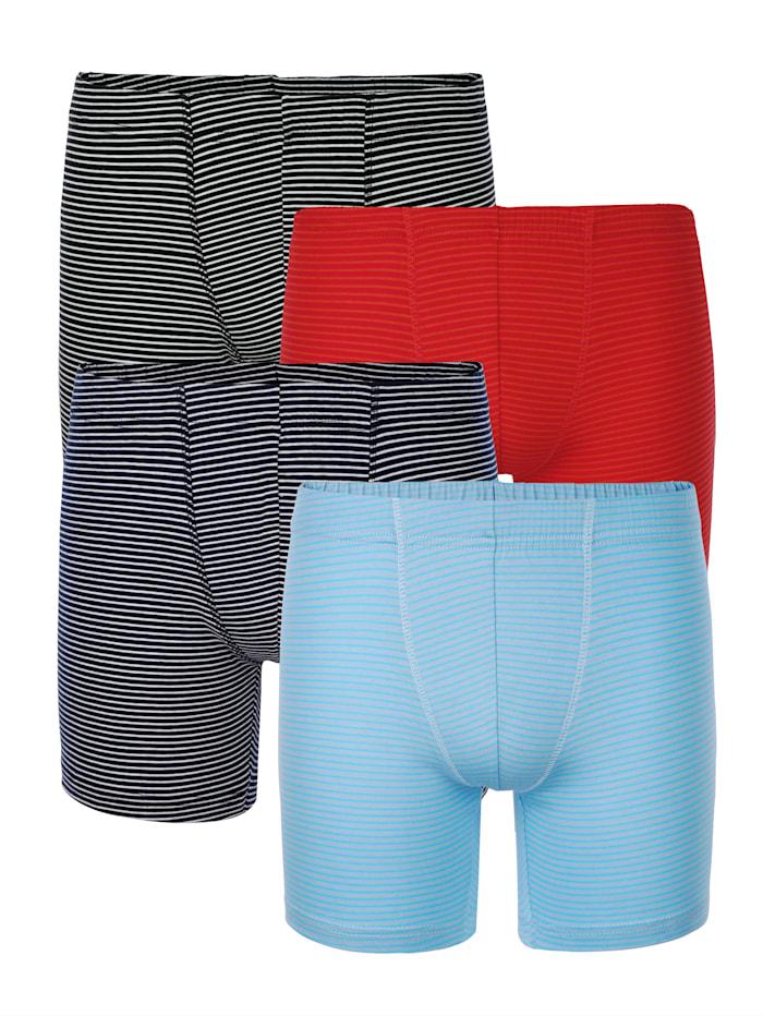 Long Pantys im 4er-Pack in modischen Farben, Marineblau/Hellblau/Rot/Schwarz