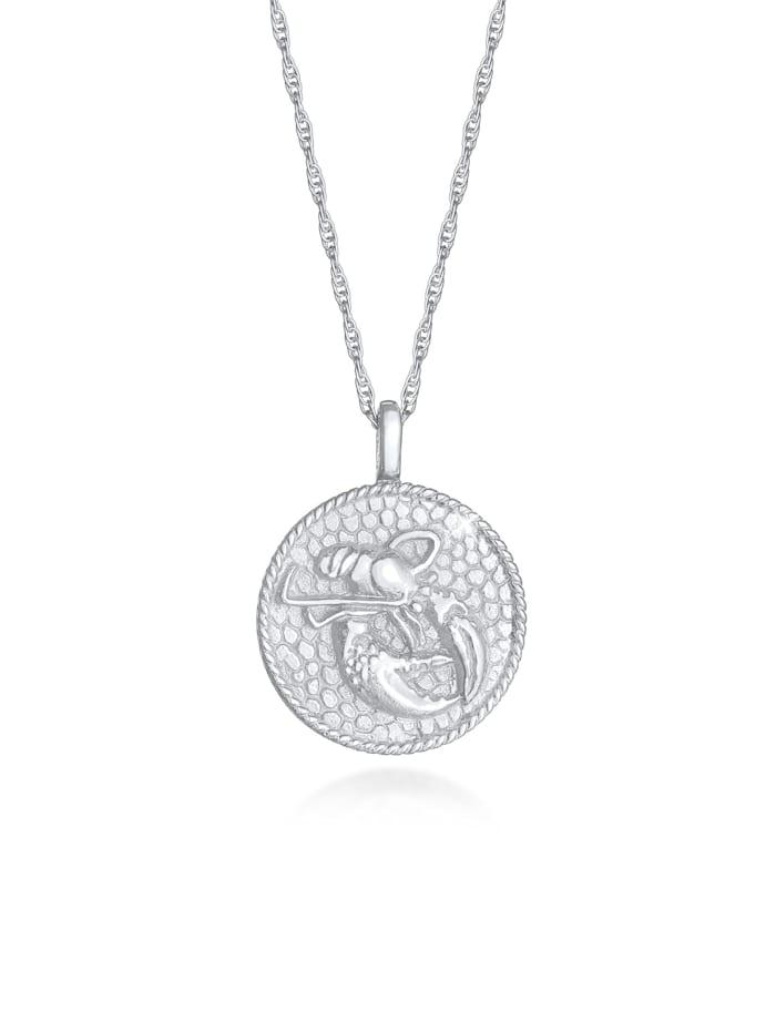 Elli Halskette Sternzeichen Krebs Münze 925 Silber, Silber