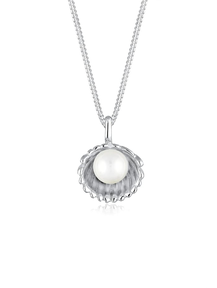 Elli Halskette Muschel Süßwasser-Perlenkugel 925 Sterling Silber, Silber