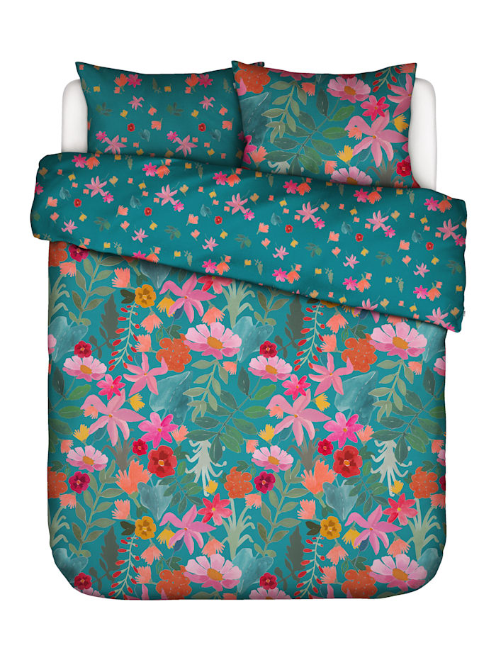 Covers & Co Perkal Bettwäsche 'Flower Power' 2tlg., Petrol