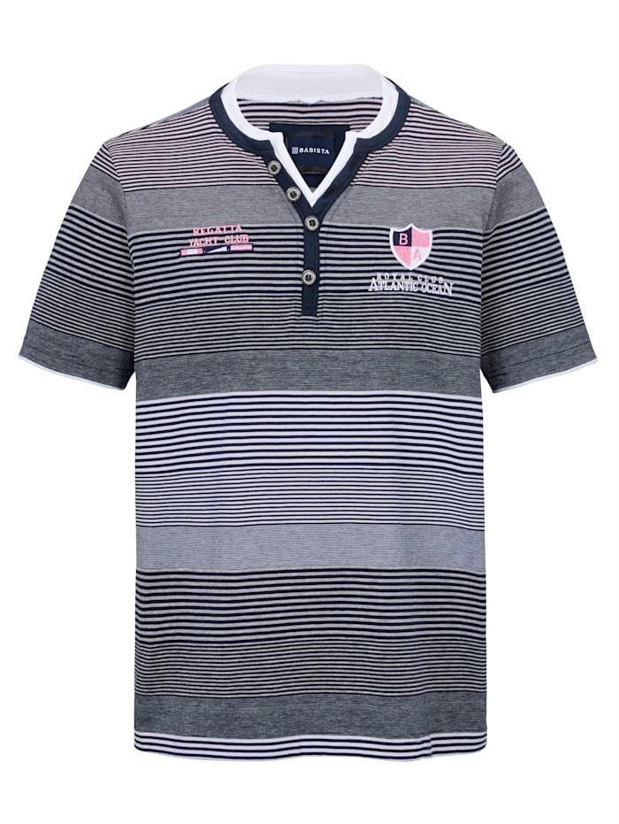 BABISTA T-shirt col tunisien avec broderie et écusson, Marine/Blanc