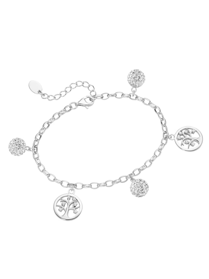 Smart Jewel Armband mit Kugeln und Lebensbäume, Silber 925, Weiss