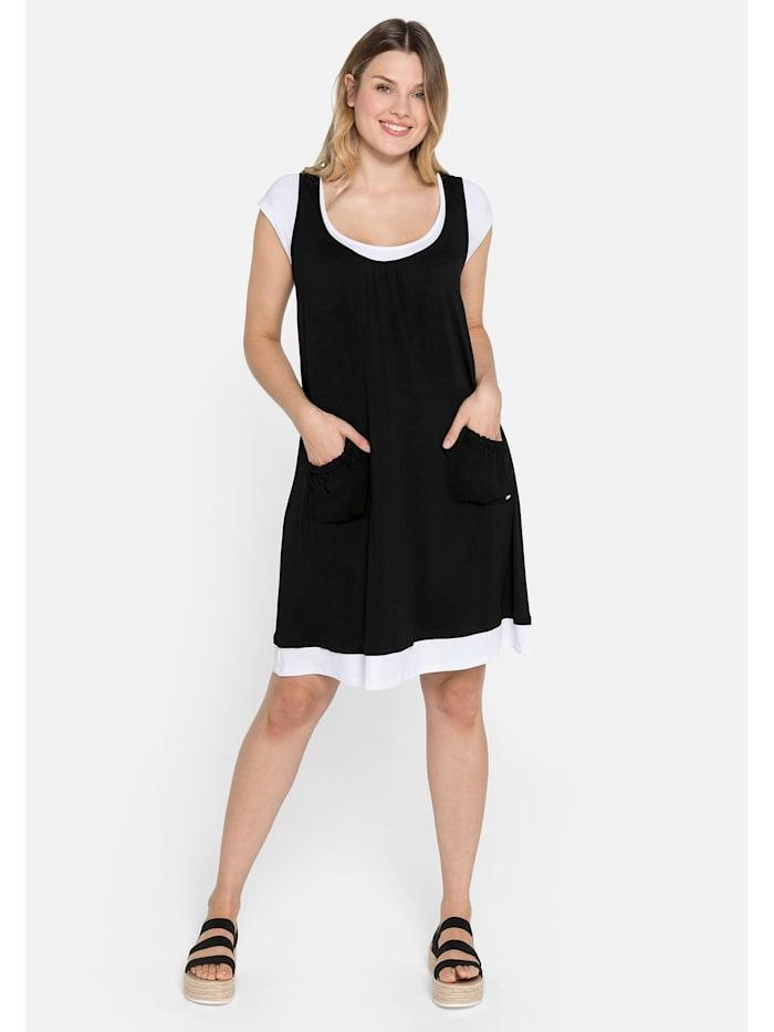 Sheego Strandkleid in Lagenoptik und mit Raffungen, schwarz