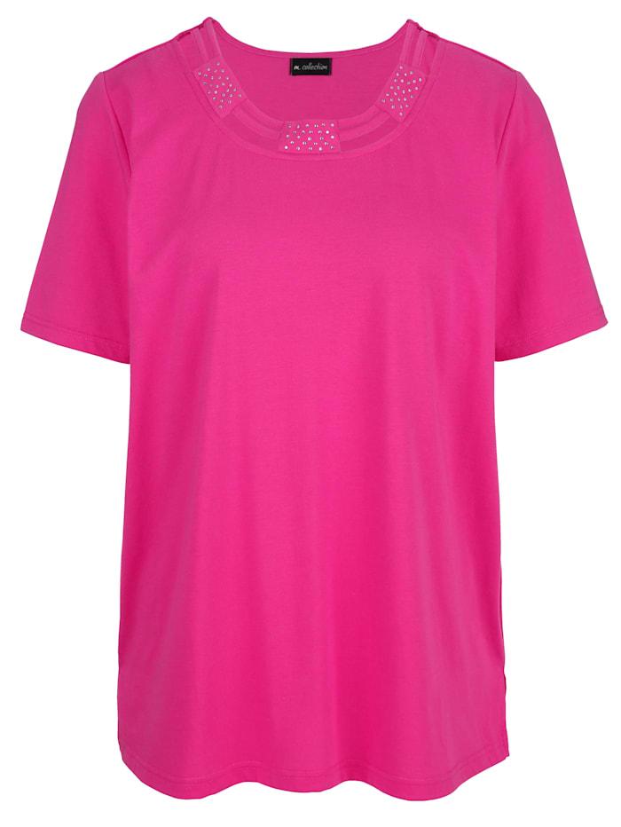 m. collection Shirt mit Bändchen- und Strasssteindekoration am Rundhals, Pink