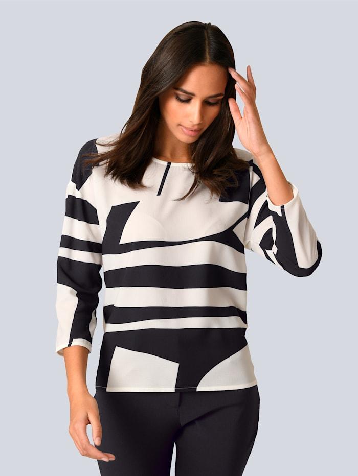 Alba Moda Shirt mit grafischem Print im Vorderteil, Off-white/Schwarz