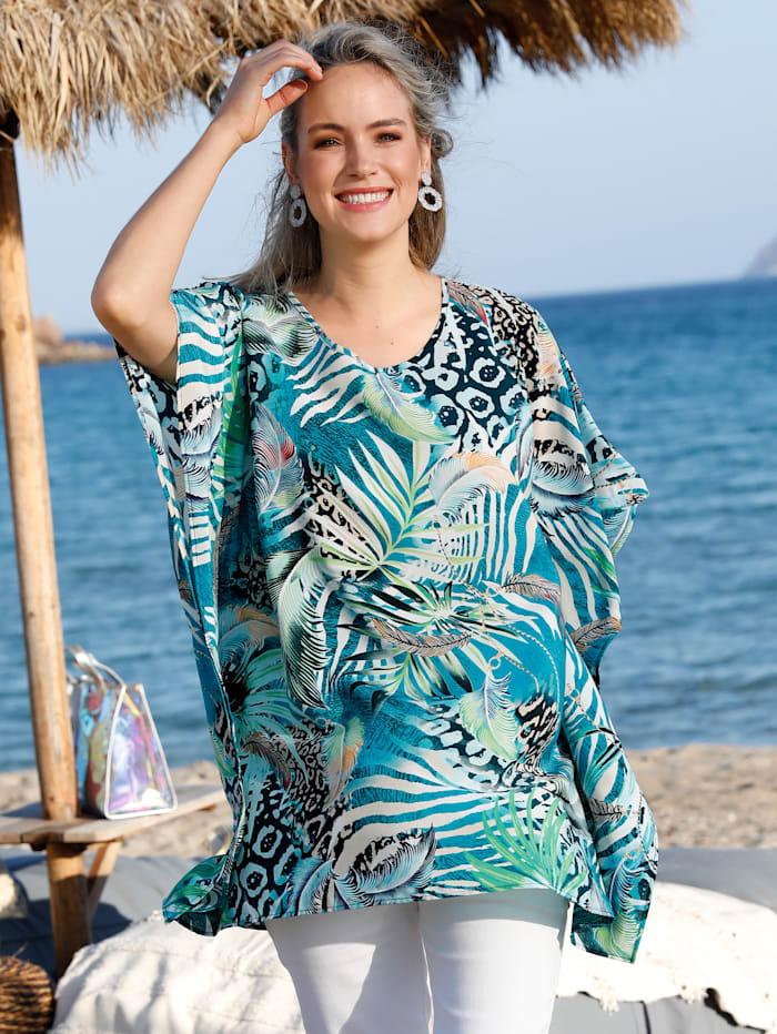 MIAMODA Tunique à magnifique imprimé jungle, Multicolore