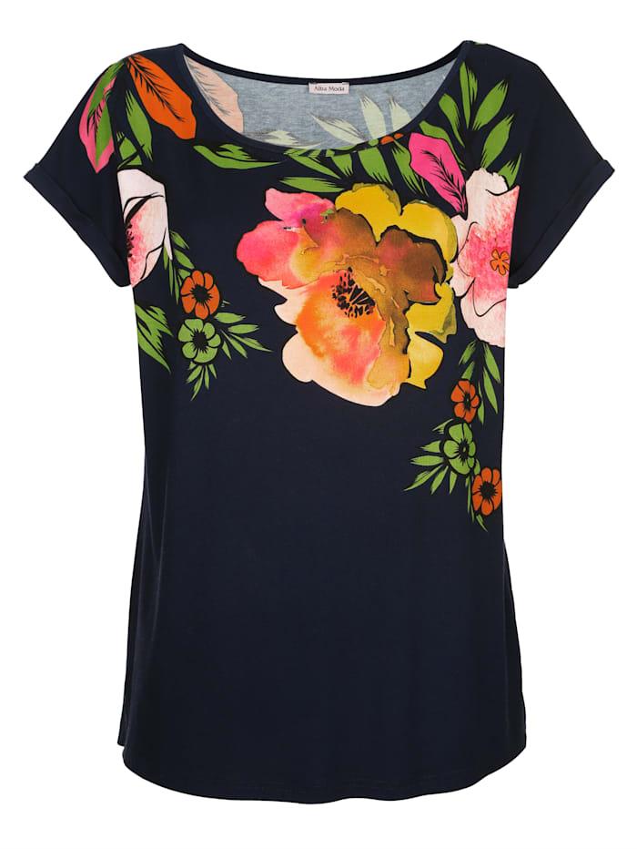 Alba Moda Strandshirt mit Blumendruck, Marine-Bunt