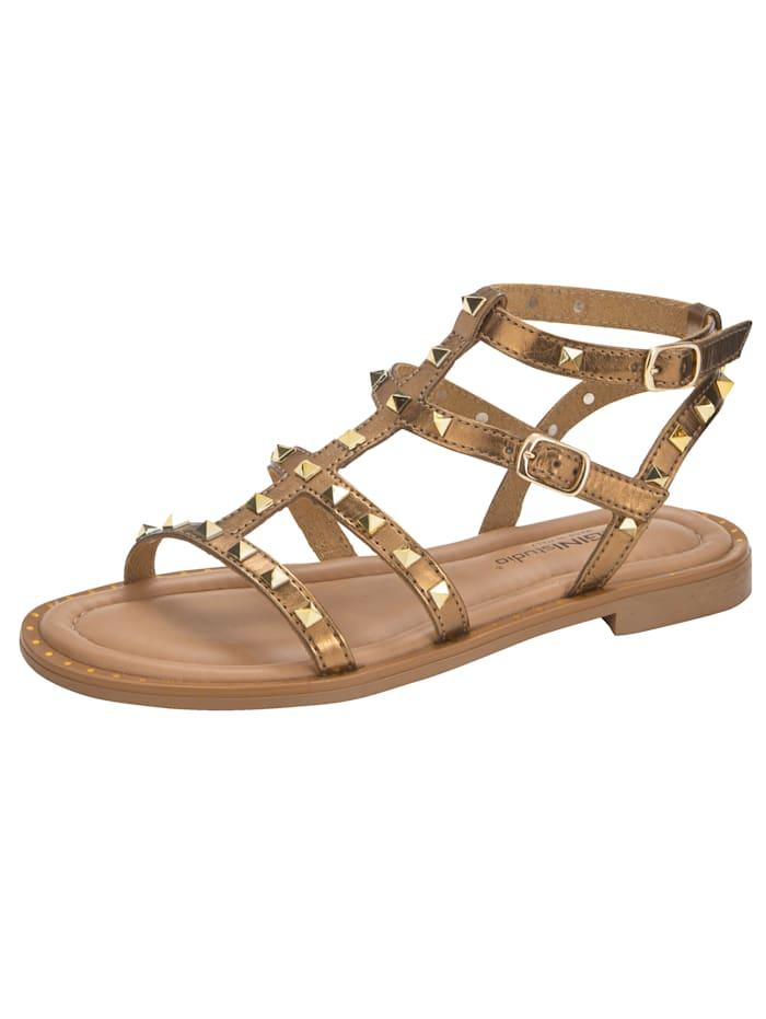 Sandaaltje met aantrekkelijke riempjes, Bronskleur