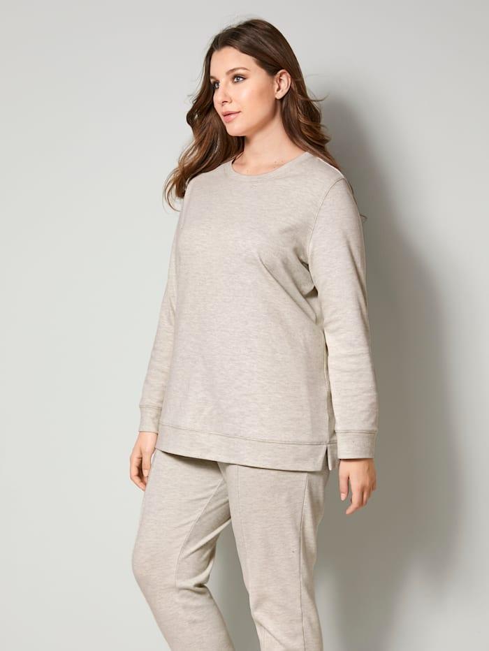 Sara Lindholm Sweat-shirt à fentes côtés mode, Beige