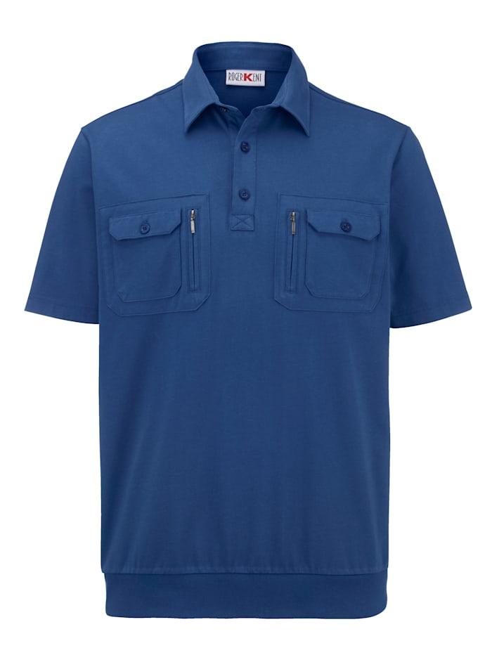 Roger Kent Tröja med bröstfickor, krage och knappar, Blå