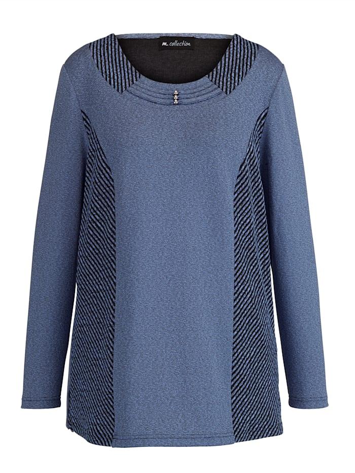 Leichtstrick-Pullover mit kontrastfarbenen Einsätzen