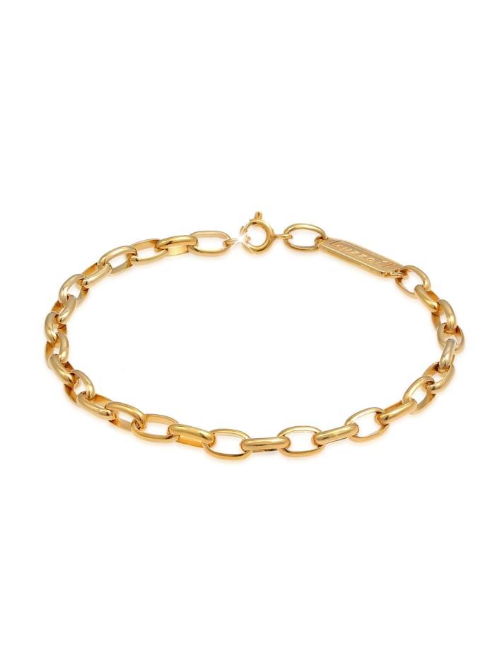 Kuzzoi Armband Herren Gliederkette Oval Massiv Basic 925 Silber, Gold