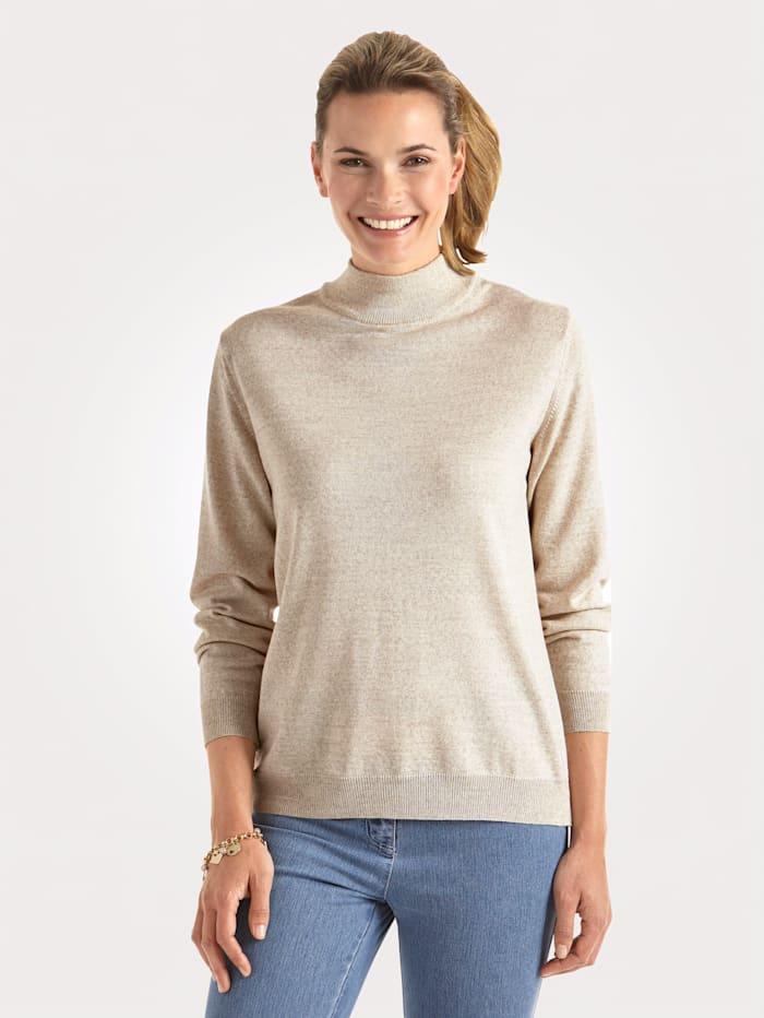 MONA Stehbund-Pullover mit Merino-Schurwolle, Natur