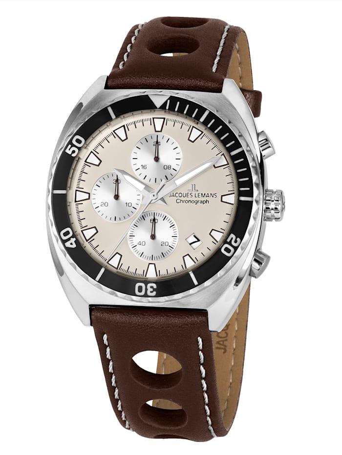 Jacques Lemans Herren-Chronograph Uhr Serie Retro 200 Kollektion Classic 1-2041D, Silberfarben/Braun