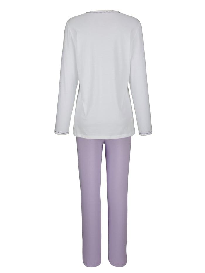 Pyjama met fraai gekarteld randje aan de hals en mouwzoom