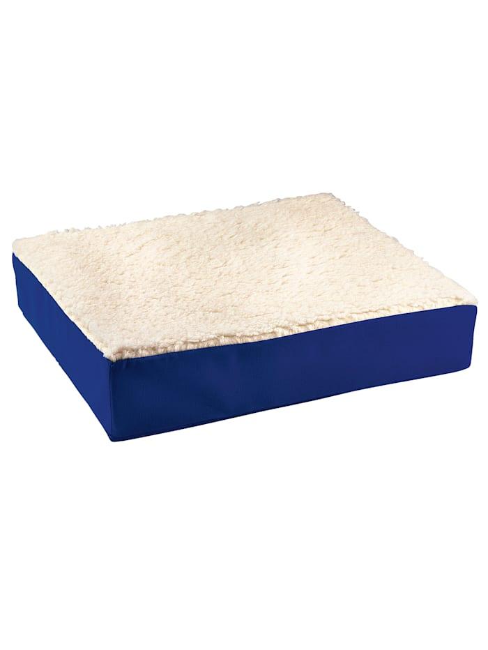 K & N Schurwolle Komfort-Sitzkissen - leichte Erhöhung, Blau/Weiß