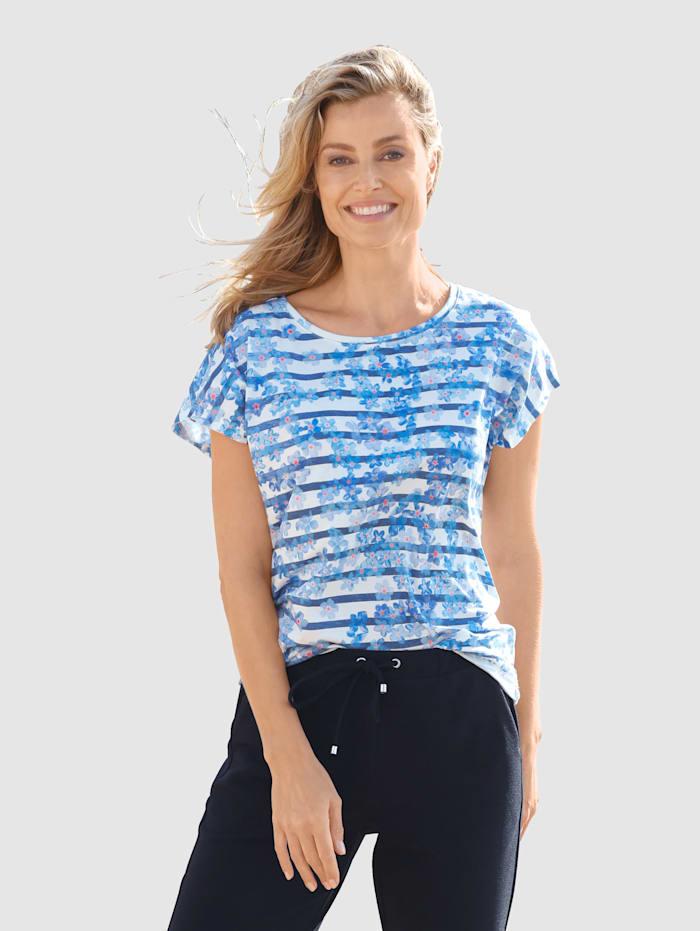basically you Shirt mit Streifen und Blumendruck, Weiß