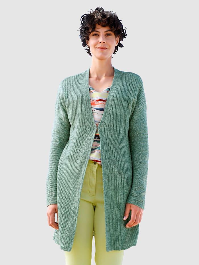 Dress In Strickjacke mit tiefem V-Ausschnitt, Salbeigrün