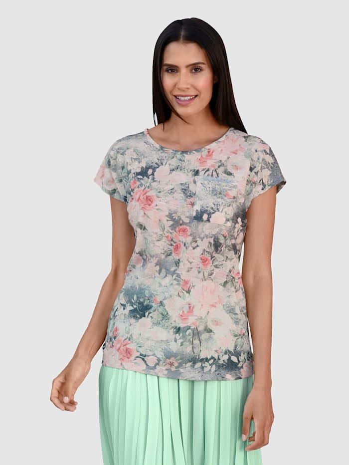 Laura Kent Shirt in floralem Dessin, Rosé/Grau/Lindgrün