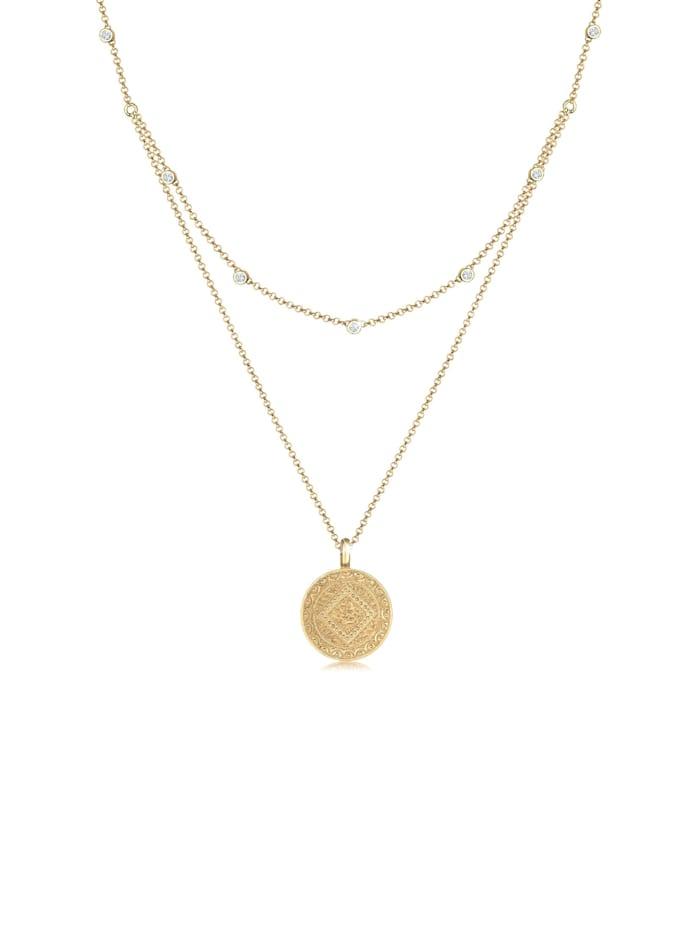 Elli Halskette Münze Plättchen Kristalle 925 Silber, Gold