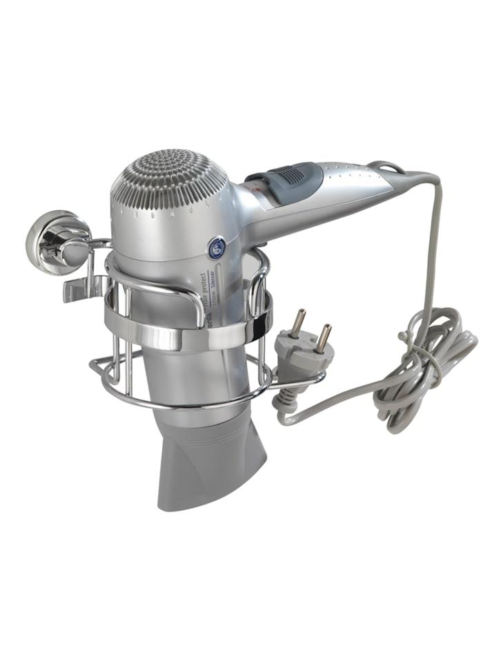 Wenko Power-Loc® Haartrocknerhalter Sion, Befestigen ohne bohren, Chrom, Abdeckung Power-Loc®: Chrom