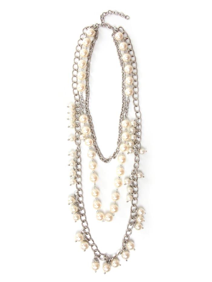 Collezione Alessandro Lange Kette Paris mit unterschiedlichen Perlen, creme
