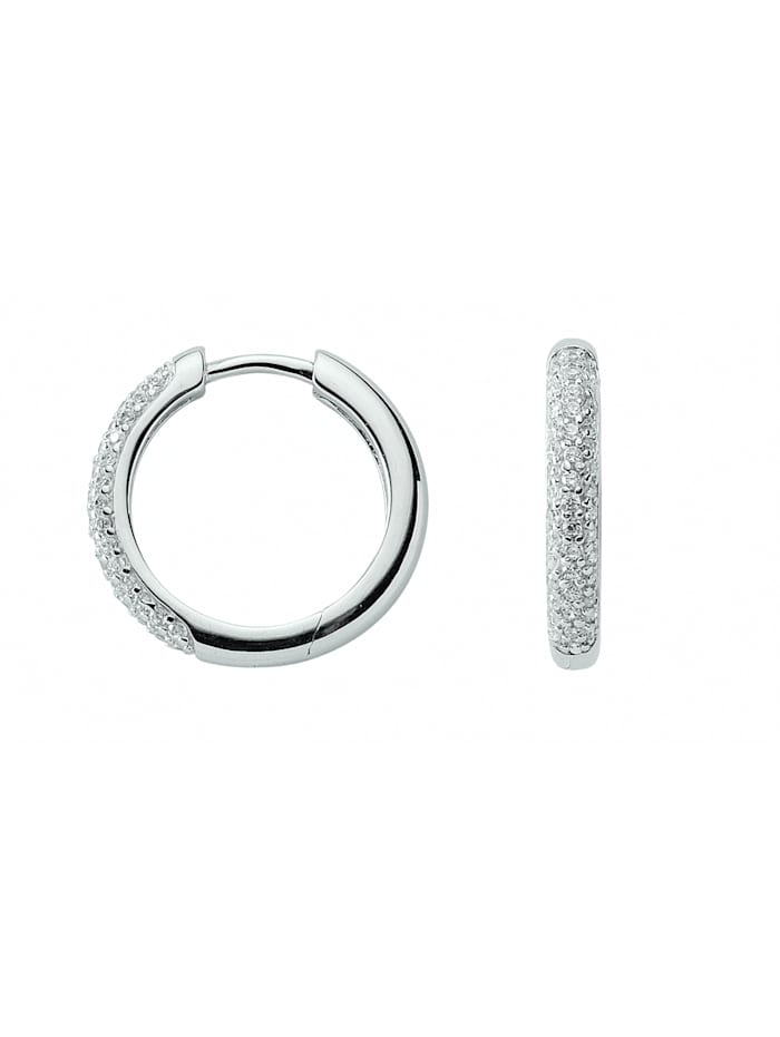 1001 Diamonds Damen Silberschmuck 925 Silber Ohrringe / Creolen mit Zirkonia Ø 18,1 mm, silber