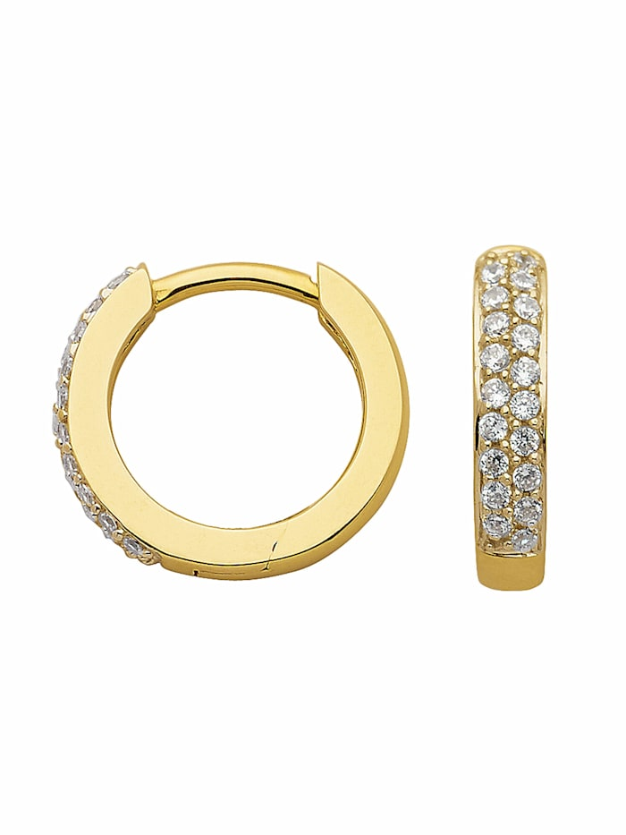 1001 Diamonds 1001 Diamonds Damen Goldschmuck 333 Gold Ohrringe / Creolen mit Zirkonia Ø 13,1 mm, gold