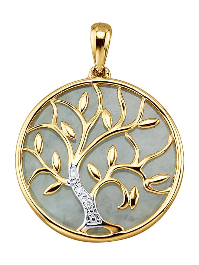 Amara Farbstein Lebensbaum-Anhänger in Gelbgold 585, Grün