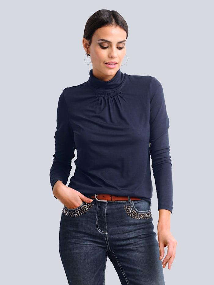 Alba Moda Shirt mit effektvollem Smoke-Effekt, Marineblau