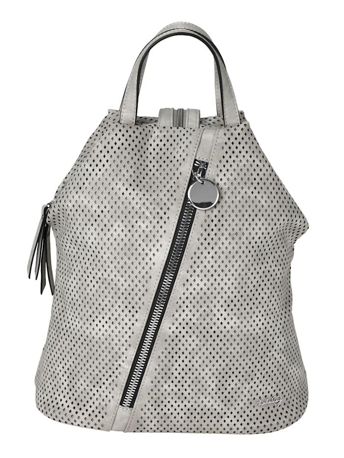 Taschenherz Rucksack mit Perforation, hellgrau