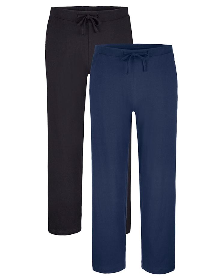 Pyjamabroeken 2 stuks, 1x zwart, 1x marine