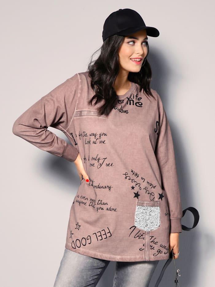 MIAMODA Sweatshirt in Oil Washed Optik, Rosé