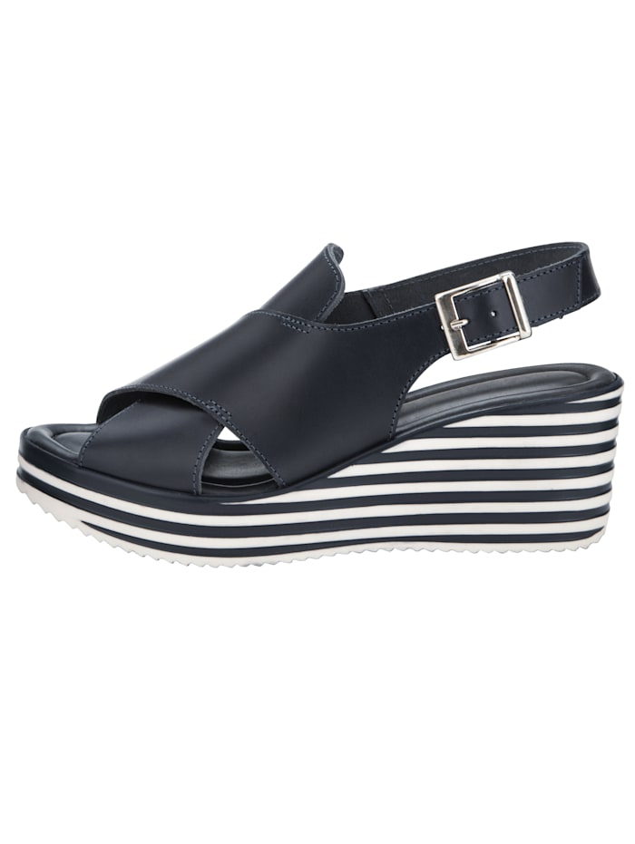 Sandales compensées d'aspect rayé