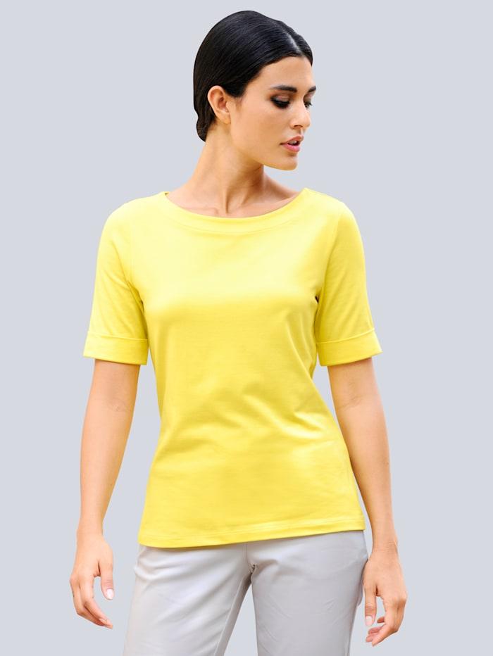Alba Moda Shirt in hochwertiger Materialmischung, Gelb