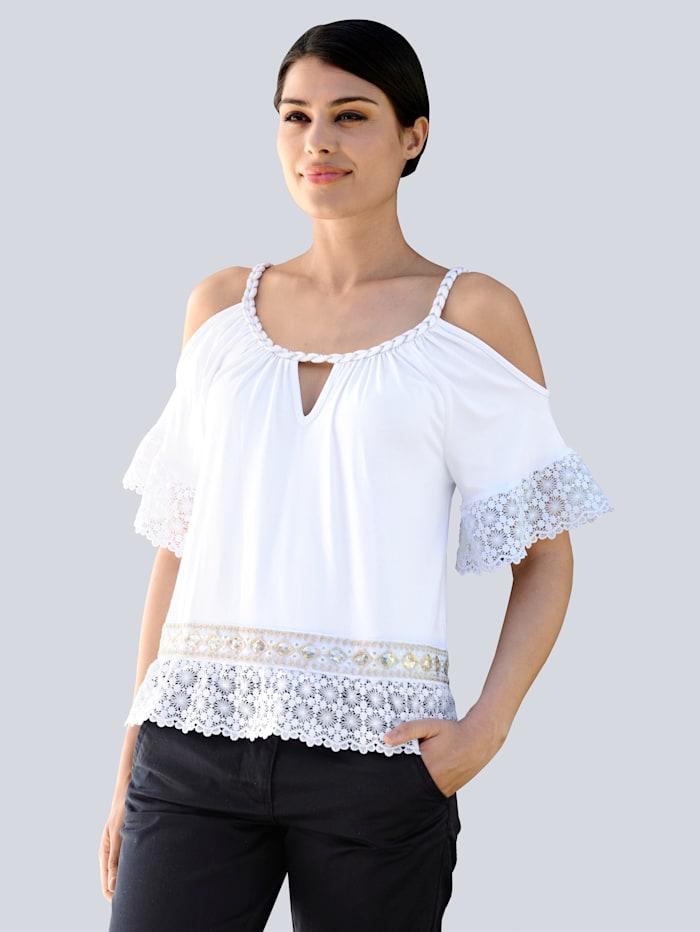 Alba Moda Shirttop mit goldenen Akzenten, Weiß