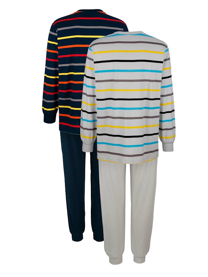 Pyjamas à motif rayé tissé teint