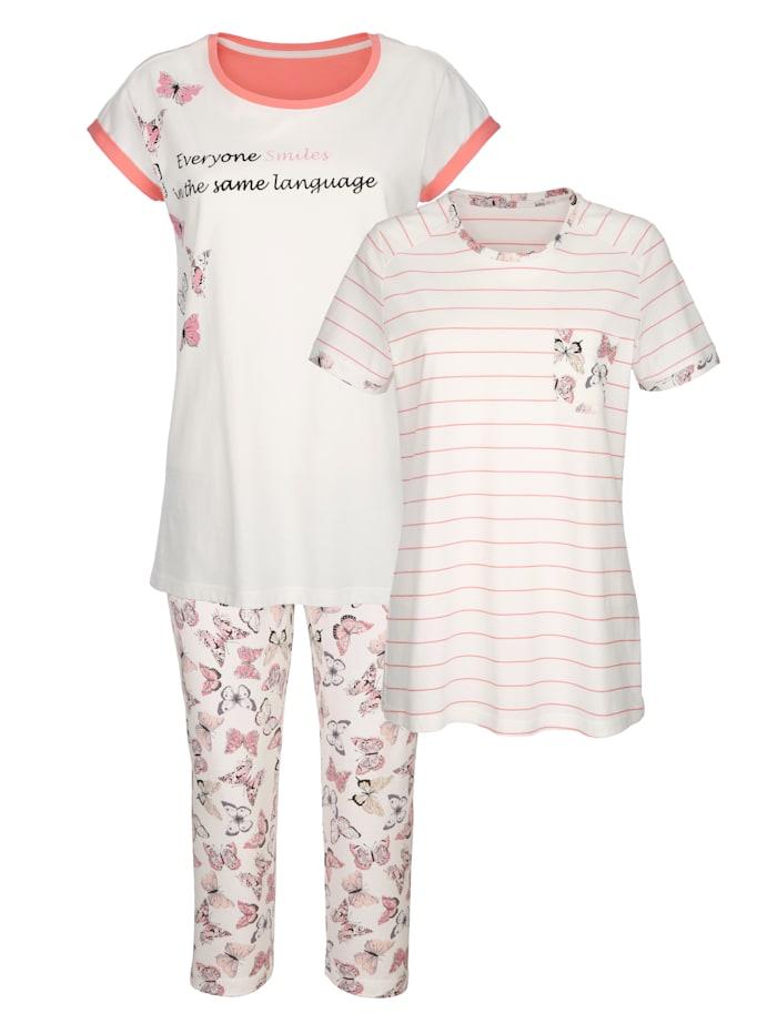 Blue Moon Pyžama s dvomi tričkami, Ecru/Svetloružová/Slivková