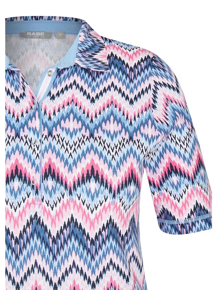 Shirt mit Polo-Kragen und Zick-Zack-Muster