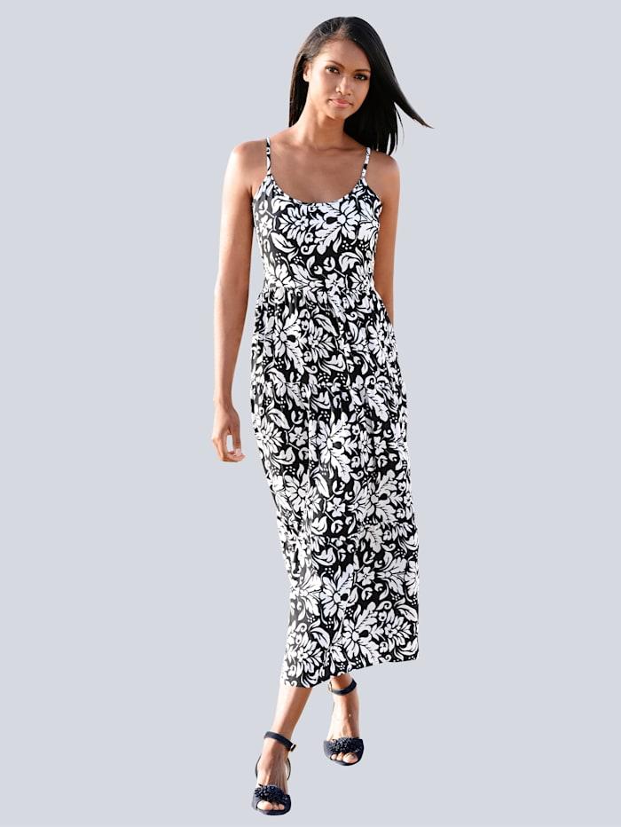 Alba Moda Strandkleid in Maxilänge, Marine-Weiß
