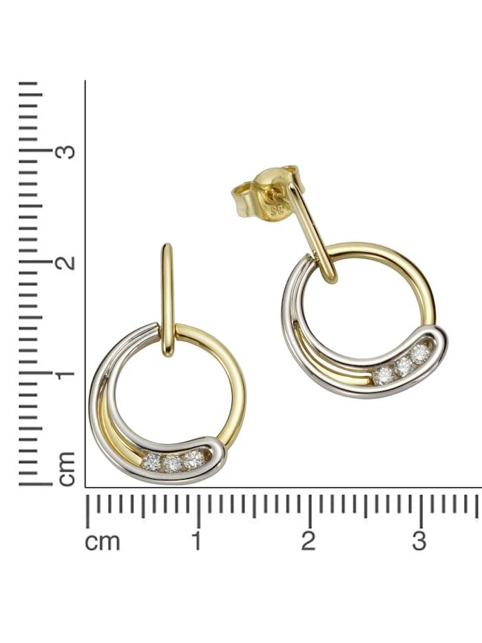 Ohrstecker 585/- Gelb- + Weißgold Brillanten 585/- Gold Brillant weiß 2,2cm Glänzend 0,12ct 585/- Gold