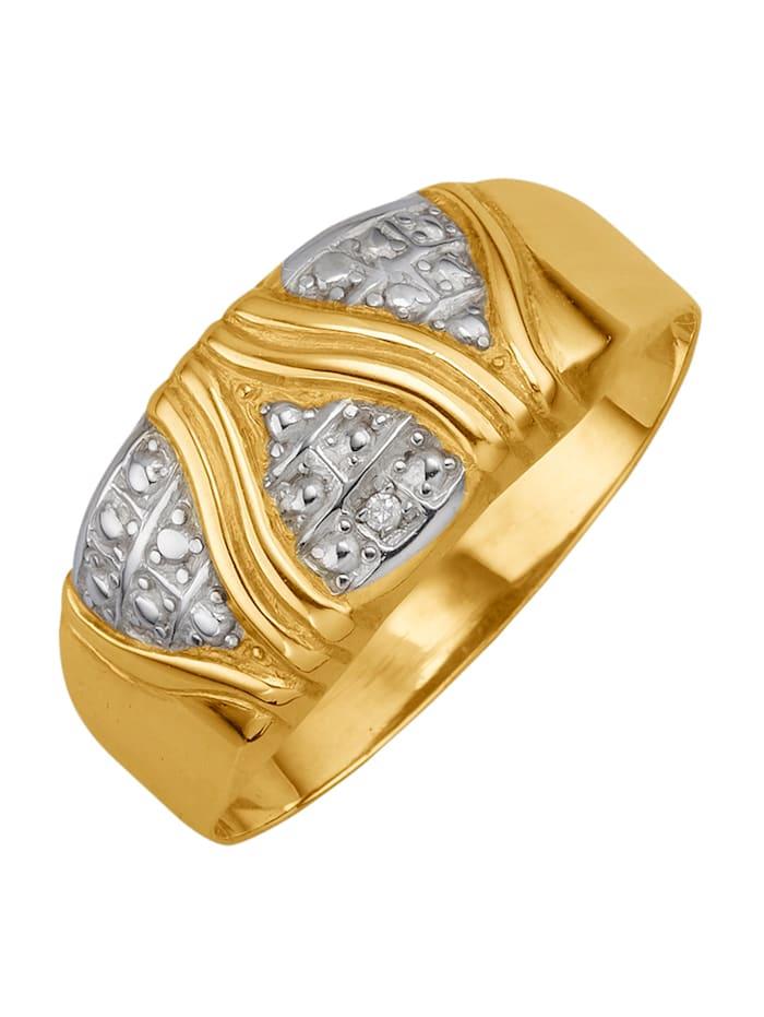 Ring med diamant, Guldfärgad